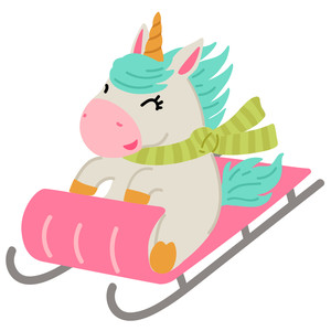 unicorn sledding