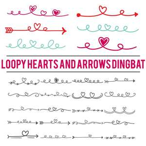 loopy hearts and arrows dingbat