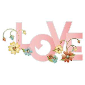 flowered word - love