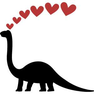 brontosaurus silhouette and hearts