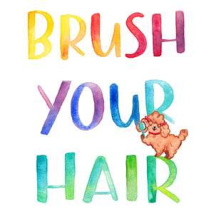 brush your hair childrens bathroom printable