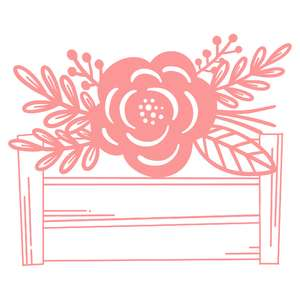 flower in box wood crate
