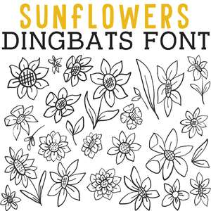 cg sunflowers dingbats