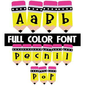pencil pop color font