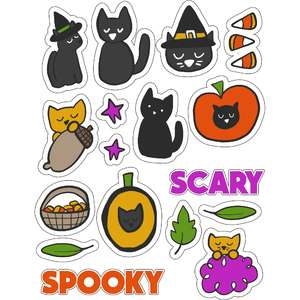 ml hallows eve kitties stickers