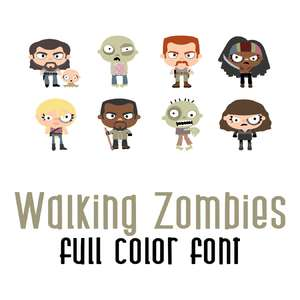 walking zombies full color font