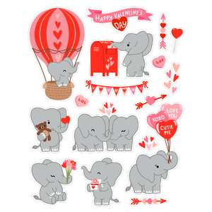 valentine's day elephant stickers
