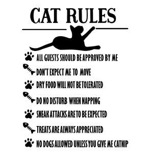 cat rules - cat funny sign