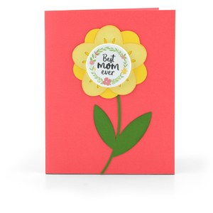 flower card button best mom ever