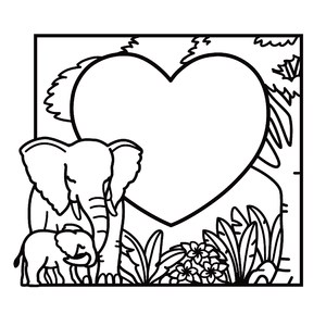 mother elephant with baby heart frame