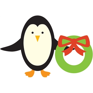 penguin with wreath