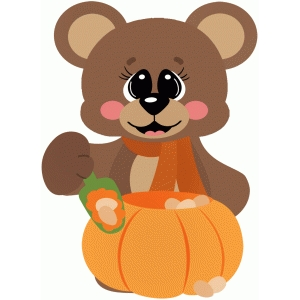 bear cleaning out pumpkin carving