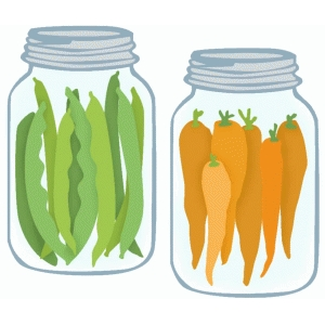 jarred veggies - beans and carrots
