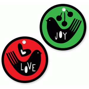 joy love circle bird tags set