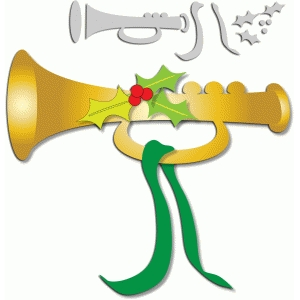 christmas horn with holly