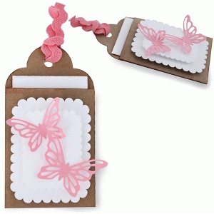 layered butterfly gift card tag