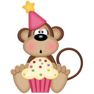 birthday monkey girl with cupcake