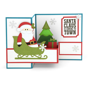 pop up box card santa sleigh