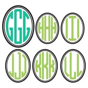 oval monogram letters g-l
