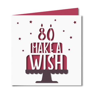 'make a wish' 80 birthday card