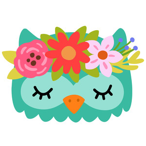 owl with flower crown