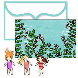 paper doll scene set - swimming