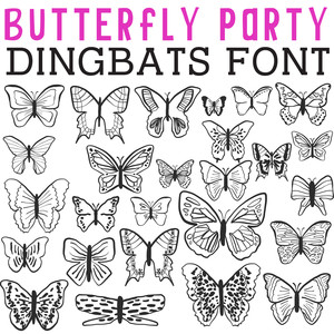 cg butterfly party dingbats