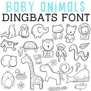 cg baby animals dingbats