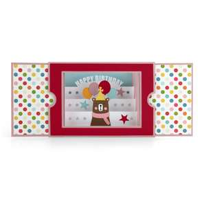sliding shadow box card birthday bear