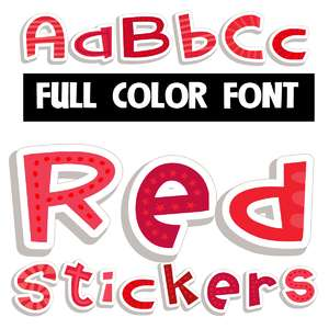 red stickers color font