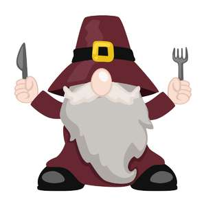 gnome with fork and knife