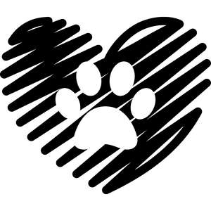 scribbled heart with paw
