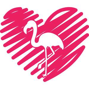 scribbled heart and flamingo