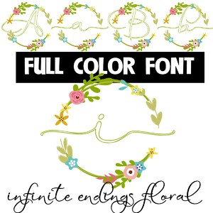 infinite endings floral color font