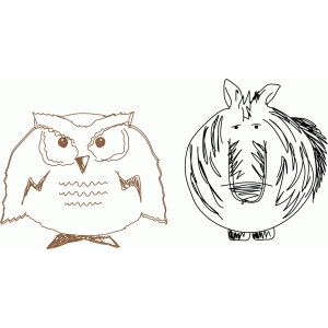 owl and zebra sketch