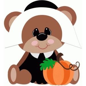 pilgrim girl bear with pumpkin