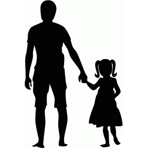 father & daughter holding hands silhouette