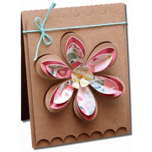 layered cut out flower a2 card