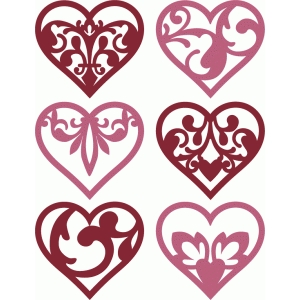 6 damask flourish hearts