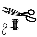 sewing scissors and thread