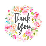 thank you background with watercolor flowers