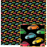 colorful cars on black pattern