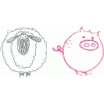 sheep and pig sketch