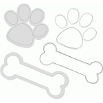 paw print and bone - sketch