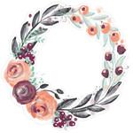 painted floral wreath purple coral