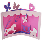 flourished baby girl tunnel card