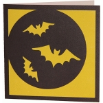 card halloween bats and moon