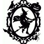 halloween witch ornate oval frame