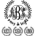 monogram elaborate script - merry & bright