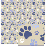 dog paw paper - blue